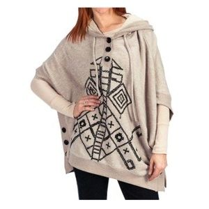 Dylan Poncho Hoodie Grey Size Small